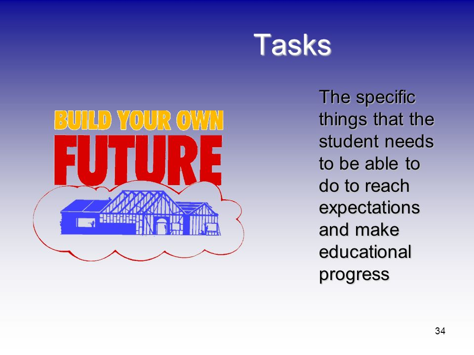 34 Tasks The specific things that the student needs to be able to do to reach expectations and make educational progress