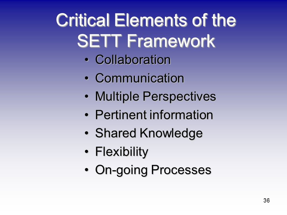 36 Critical Elements of the SETT Framework CollaborationCollaboration CommunicationCommunication Multiple PerspectivesMultiple Perspectives Pertinent