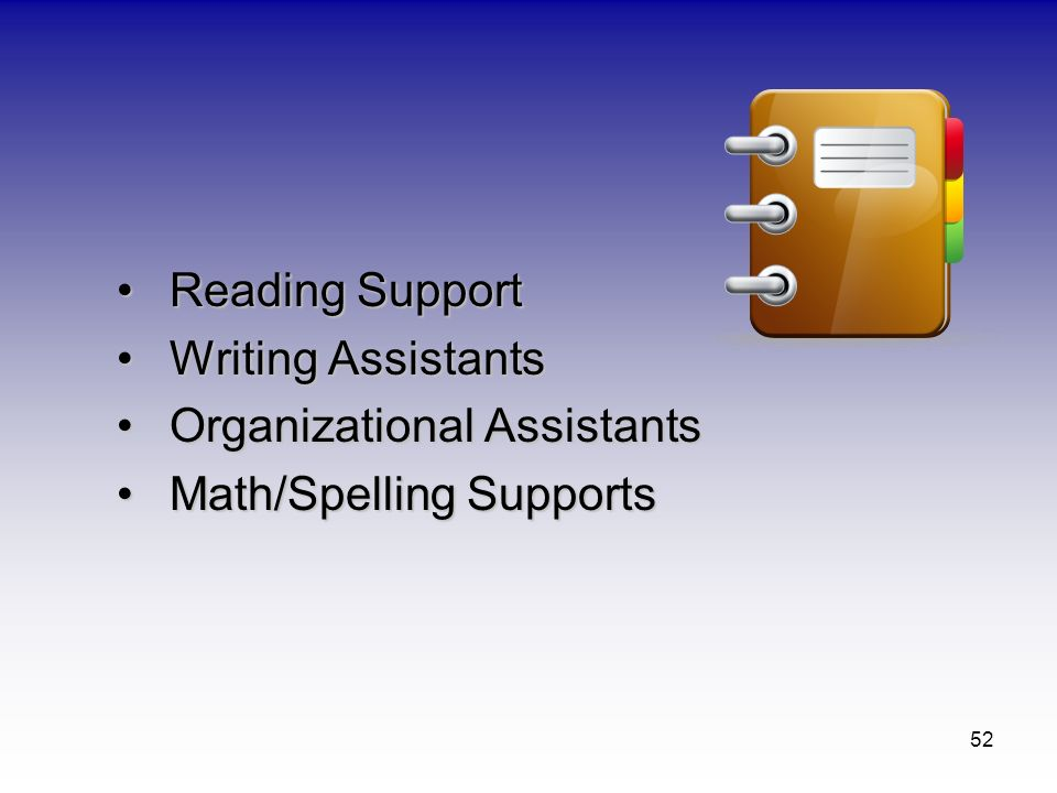 52 Reading SupportReading Support Writing AssistantsWriting Assistants Organizational AssistantsOrganizational Assistants Math/Spelling SupportsMath/S