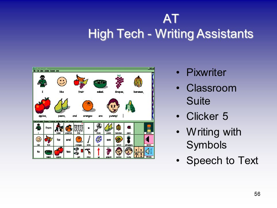 56 AT High Tech - Writing Assistants Pixwriter Classroom Suite Clicker 5 Writing with Symbols Speech to Text
