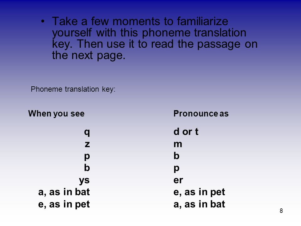 8 Take a few moments to familiarize yourself with this phoneme translation key. Then use it to read the passage on the next page. Phoneme translation