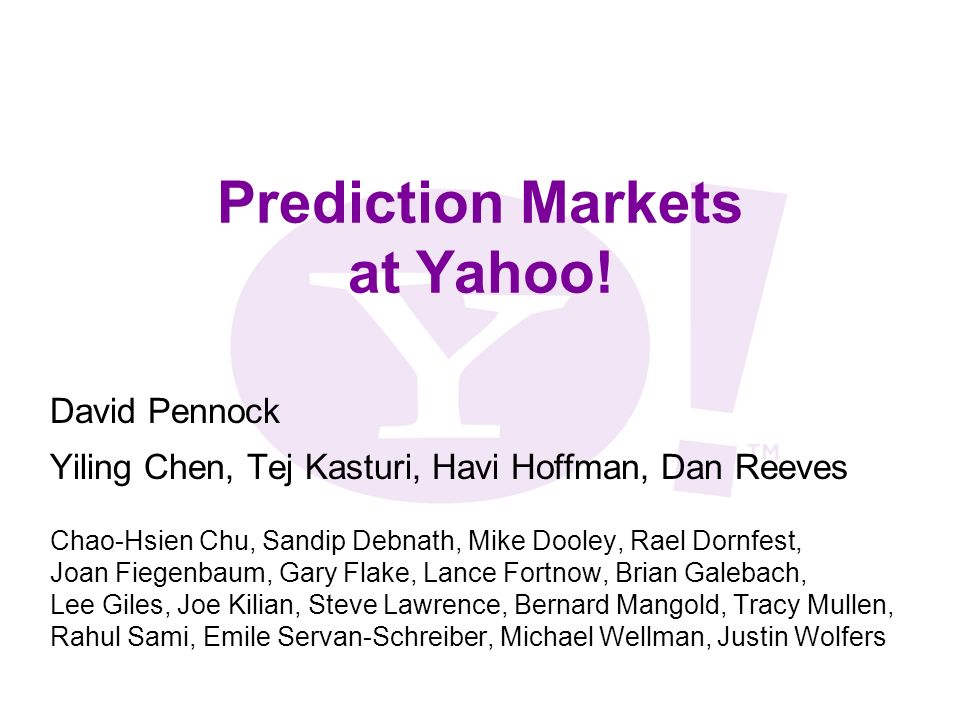 Prediction Markets at Yahoo.