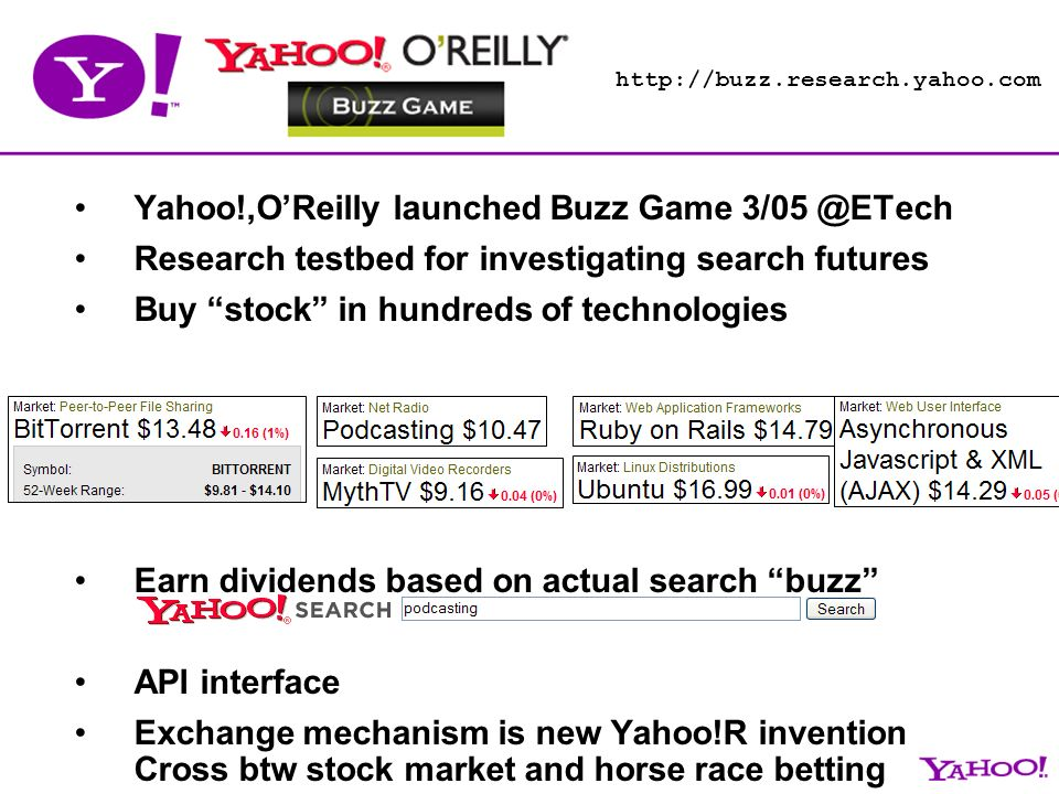 Yahoo!,OReilly launched Buzz Game Research testbed for investigating search futures Buy stock in hundreds of technologies Earn dividends based on actual search buzz API interface Exchange mechanism is new Yahoo!R invention Cross btw stock market and horse race betting