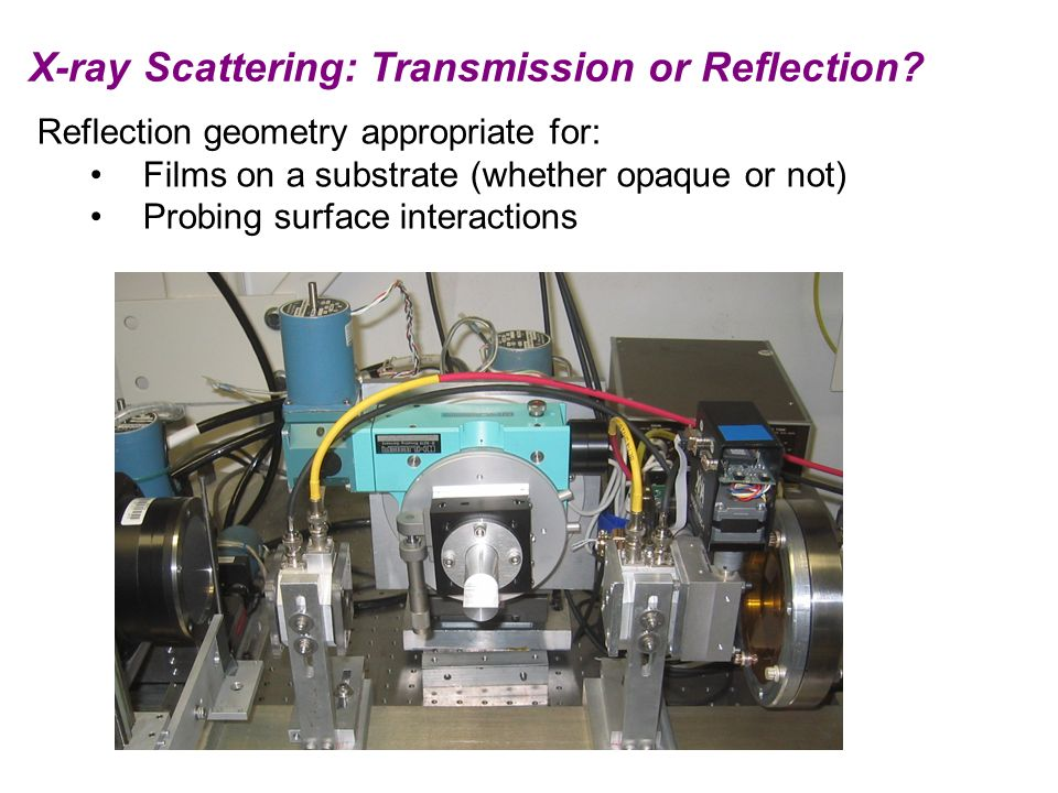 X-ray Scattering: Transmission or Reflection? Reflection geometry appropriate for: Films on a substrate (whether opaque or not) Probing surface intera