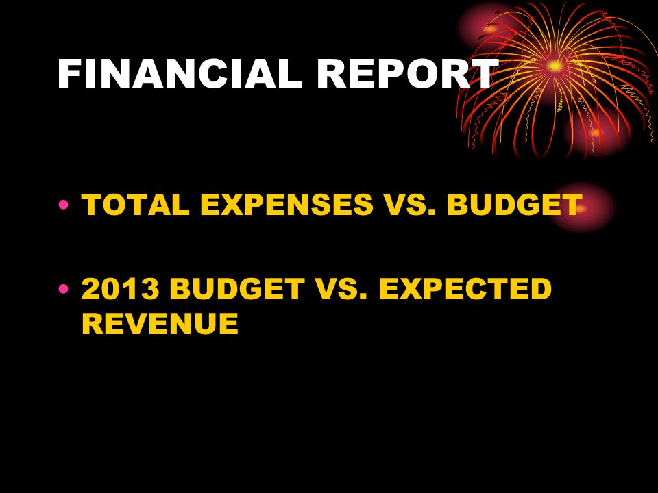 FINANCIAL REPORT TOTAL EXPENSES VS. BUDGET 2013 BUDGET VS. EXPECTED REVENUE