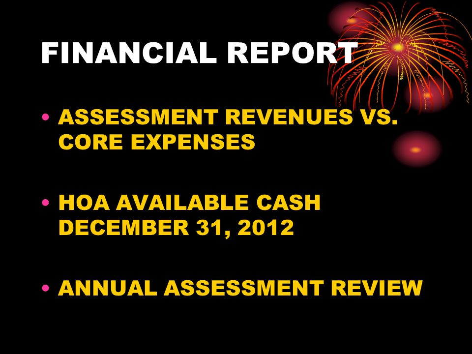 FINANCIAL REPORT ASSESSMENT REVENUES VS.