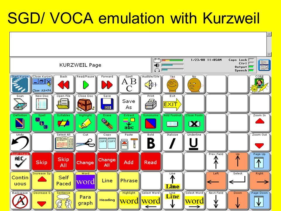 SGD/ VOCA emulation with Kurzweil