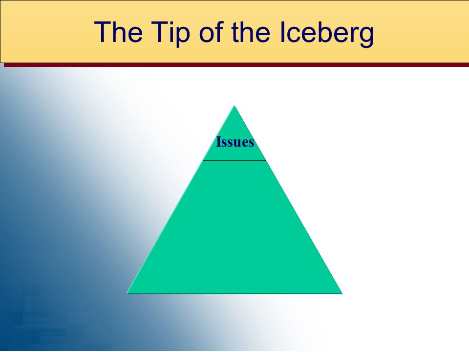 The Tip of the Iceberg Issues