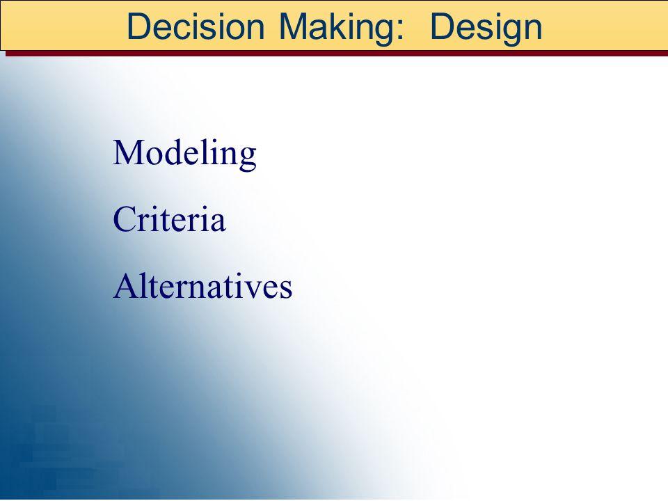 Decision Making: Design Modeling Criteria Alternatives