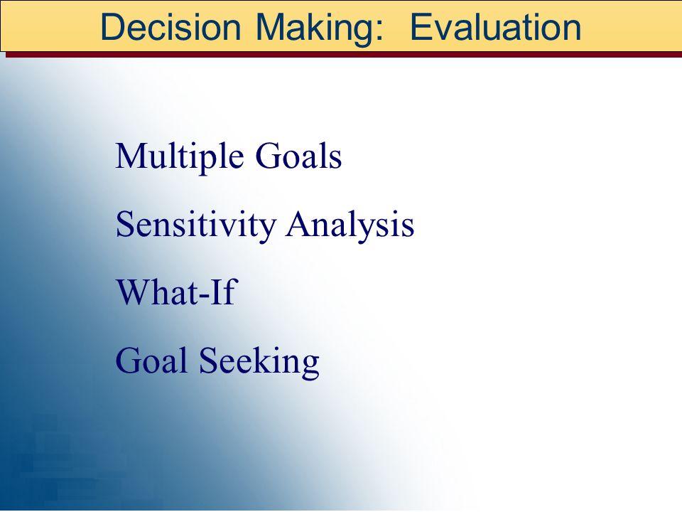 Decision Making: Evaluation Multiple Goals Sensitivity Analysis What-If Goal Seeking
