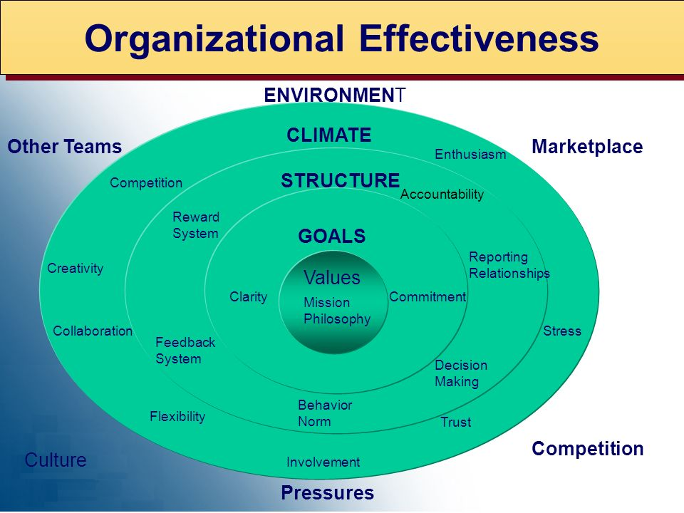 Organizational Effectiveness Values GOALS STRUCTURE CLIMATE ENVIRONMENT MarketplaceOther Teams Culture Competition Pressures ClarityCommitment Reward