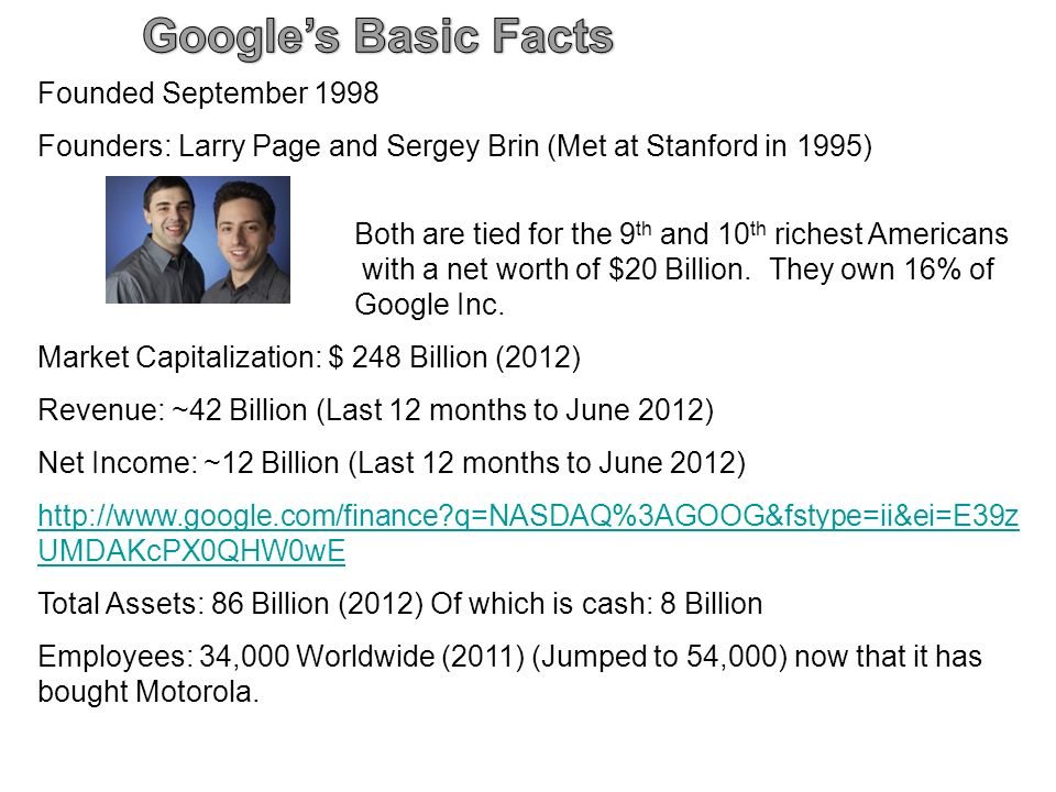 Founded September 1998 Founders: Larry Page and Sergey Brin (Met at Stanford in 1995) Both are tied for the 9 th and 10 th richest Americans with a net worth of $20 Billion.