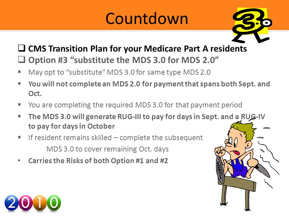 Countdown CMS Transition Plan for your Medicare Part A residents Option #3 substitute the MDS 3.0 for MDS 2.0 May opt to substitute MDS 3.0 for same type MDS 2.0 You will not complete an MDS 2.0 for payment that spans both Sept.