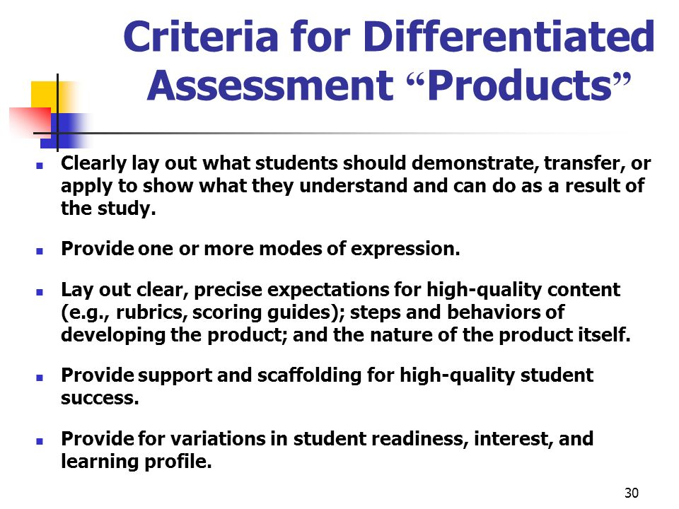 30 Criteria for Differentiated Assessment Products Clearly lay out what students should demonstrate, transfer, or apply to show what they understand a