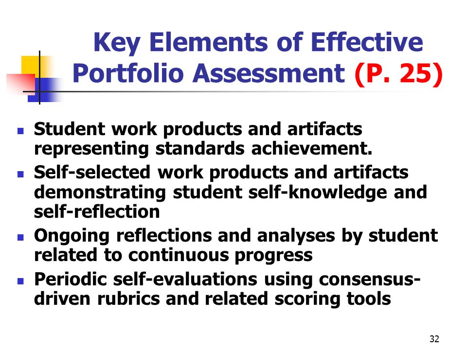 32 Key Elements of Effective Portfolio Assessment (P. 25) Student work products and artifacts representing standards achievement. Self-selected work p