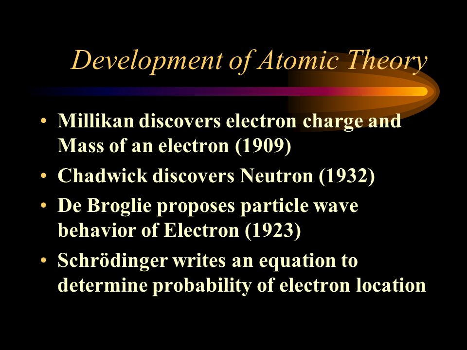 Development of Atomic Theory Bohr (1913) Electrons circle nucleus in specific circular paths at fixed distances from the nucleus Each electron orbit h