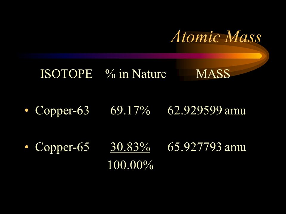Atomic Mass Average Atomic Mass –Weighted average –Of all naturally occurring isotopes This is the mass on the Periodic Table This is the mass we use for calculations Can you calculate a weighted average?