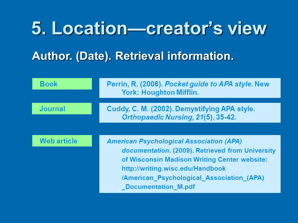 5. Locationcreators view Author. (Date). Retrieval information. BookPerrin, R. (2006). Pocket guide to APA style. New York: Houghton Mifflin. JournalC