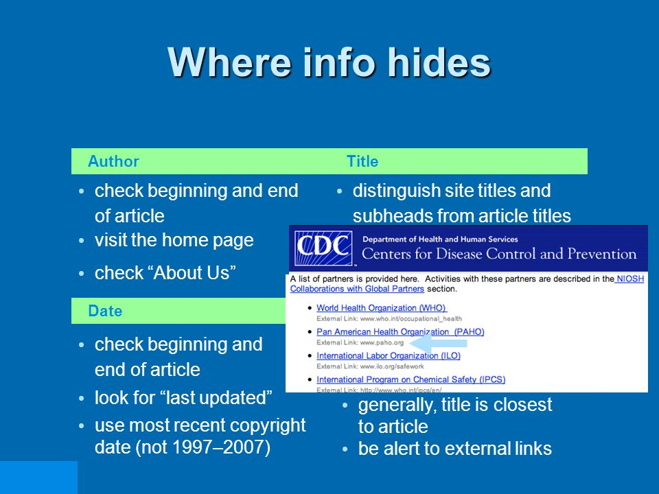Where info hides Author distinguish site titles and subheads from article titles visit the home page check About Us check beginning and end of article