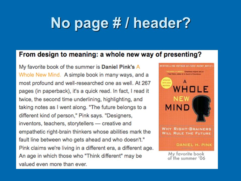 No page # / header? SOURCE- REFLECTIVE STATEMENT SOURCE The future belongs to a different kind of person,The future belongs to a different kind of per