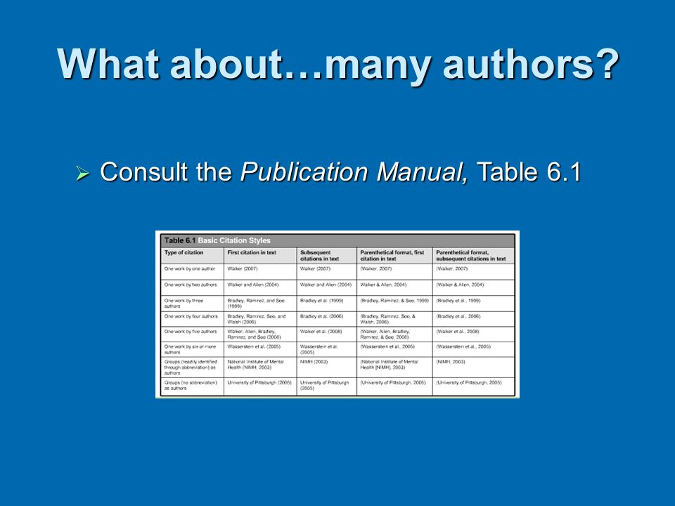 What about…many authors? Consult the Publication Manual, Table 6.1 Consult the Publication Manual, Table 6.1
