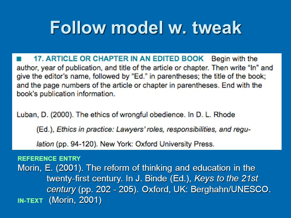 Follow model w. tweak REFERENCE ENTRY Morin, E. (2001). The reform of thinking and education in the twenty-first century. In J. Binde (Ed.), Keys to t