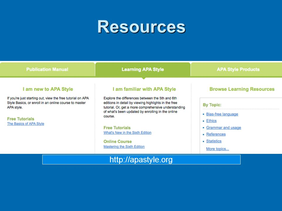 Resources http://apastyle.org