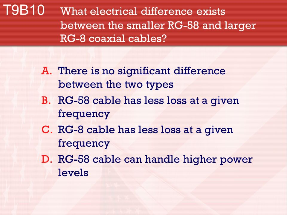 T9B10 What electrical difference exists between the smaller RG-58 and larger RG-8 coaxial cables.