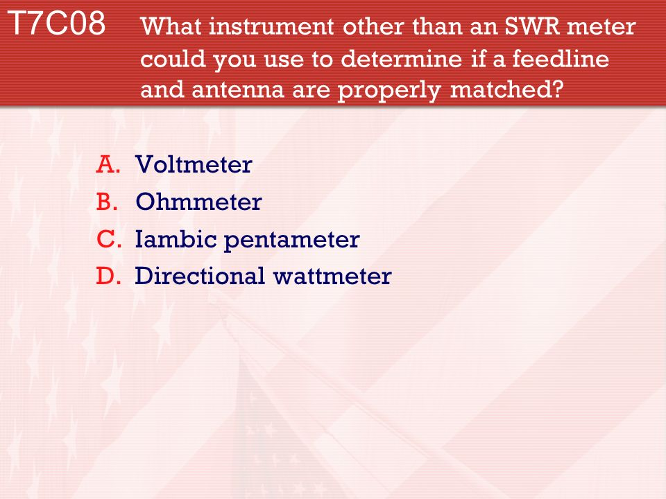 T7C08 What instrument other than an SWR meter could you use to determine if a feedline and antenna are properly matched.