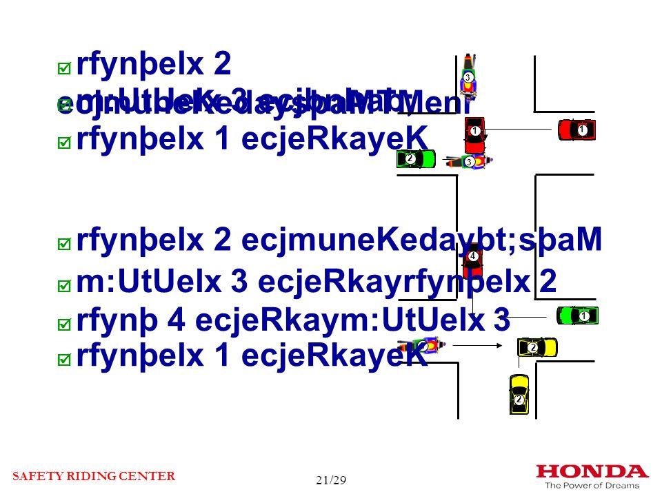 rfynþelx 2 ecjmuneKedaysþaMTMenr m:UtUelx 3 ecjbnÞab; rfynþelx 1 ecjeRkayeK SAFETY RIDING CENTER 1 2 33 3 1 1 2 1 1 1 22 3 4 1 2 2 1 22 1 1 4 3 rfynþelx 2 ecjmuneKedaybt;sþaM m:UtUelx 3 ecjeRkayrfynþelx 2 rfynþ 4 ecjeRkaym:UtUelx 3 rfynþelx 1 ecjeRkayeK 21/29