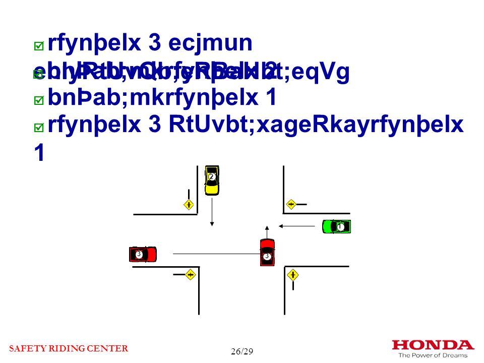 rfynþelx 3 ecjmun ehIyRtUvQb;eRBaHbt;eqVg bnÞab;mkrfynþelx 2 bnÞab;mkrfynþelx 1 rfynþelx 3 RtUvbt;xageRkayrfynþelx 1 SAFETY RIDING CENTER 3 1 2 2 3 1 3 1 1 2 2 26/29