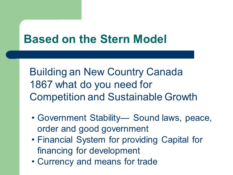 Based on the Stern Model Government Stability Sound laws, peace, order and good government Financial System for providing Capital for financing for de