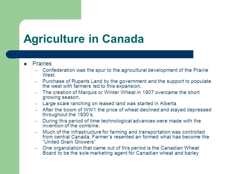 Agriculture in Canada Prairies – Confederation was the spur to the agricultural development of the Prairie West. – Purchase of Ruperts Land by the gov