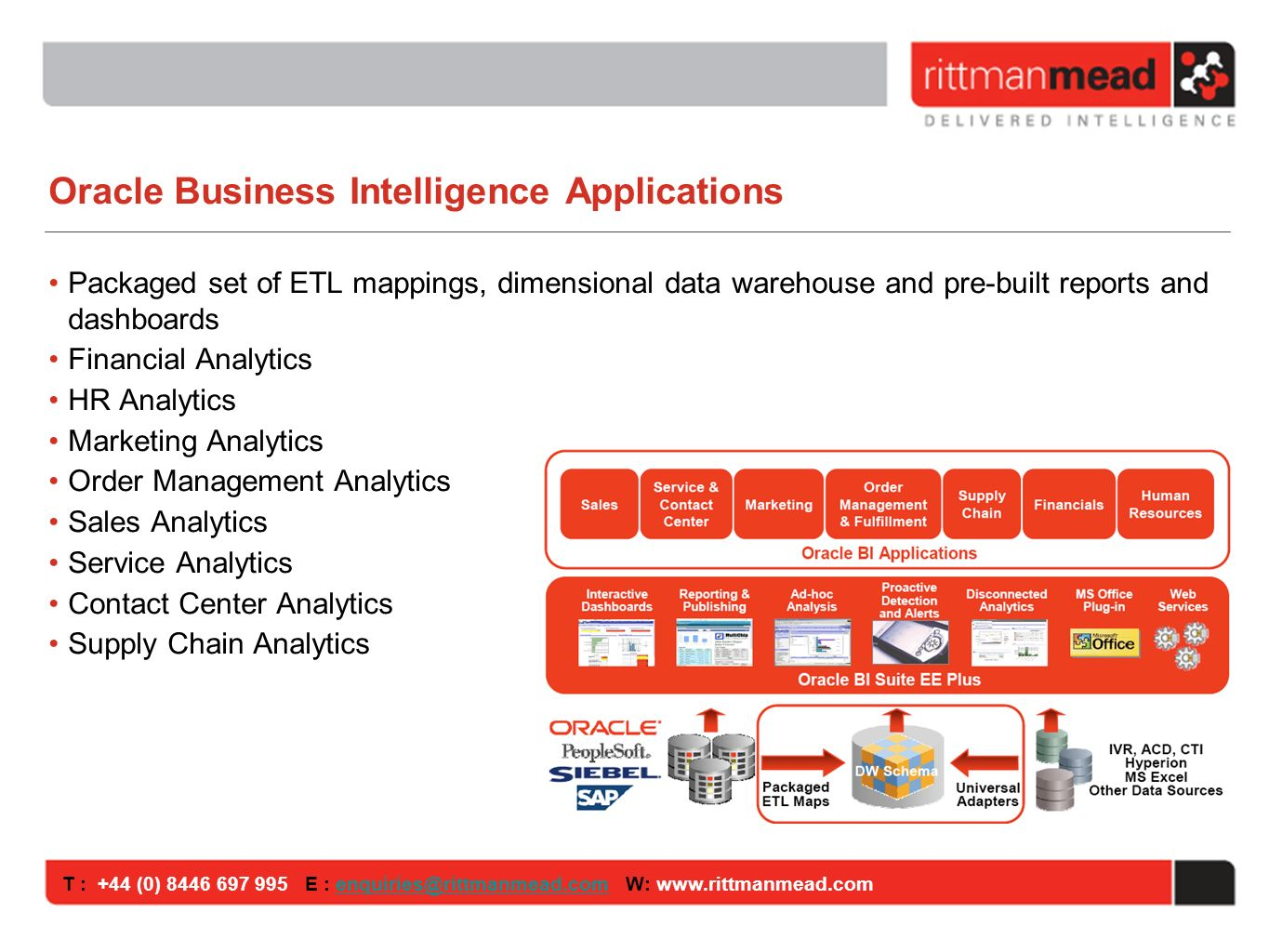 T : +44 (0) E : W: Oracle Business Intelligence Applications Packaged set of ETL mappings, dimensional data warehouse and pre-built reports and dashboards Financial Analytics HR Analytics Marketing Analytics Order Management Analytics Sales Analytics Service Analytics Contact Center Analytics Supply Chain Analytics
