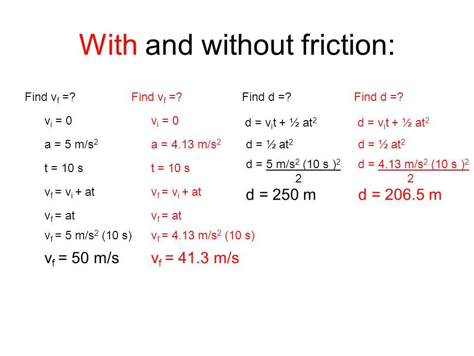 With and without friction: Find v f =? v i = 0 a = 5 m/s 2 t = 10 s v f = v i + at v f = at v f = 5 m/s 2 (10 s) v f = 50 m/s Find v f =? v i = 0 a =