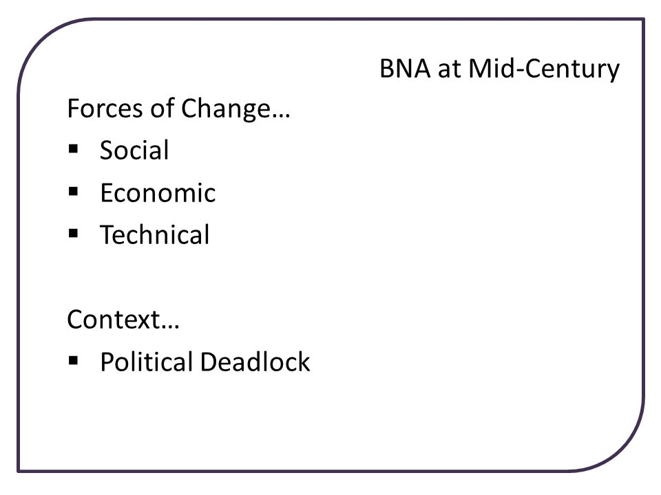 Forces of Change… Social Economic Technical Context… Political Deadlock BNA at Mid-Century