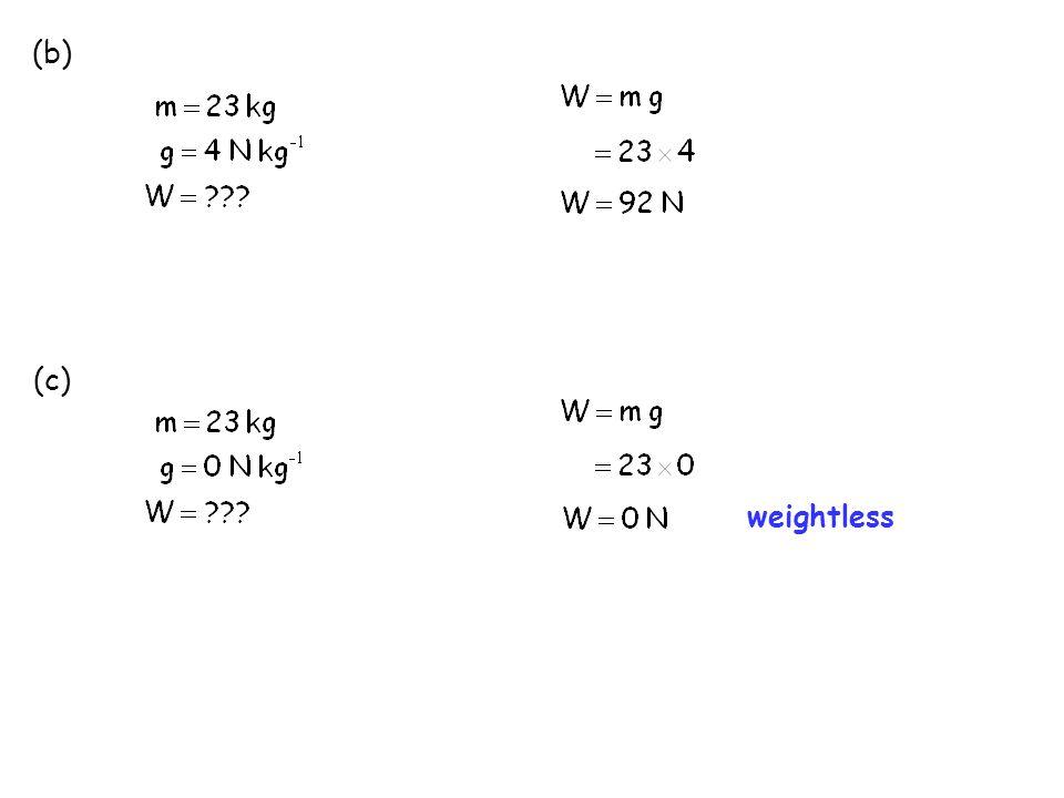 (b) (c) weightless