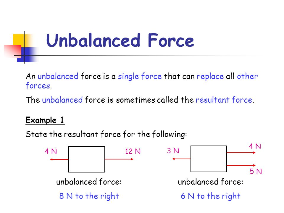 Unbalanced Force An unbalanced force is a single force that can replace all other forces. The unbalanced force is sometimes called the resultant force