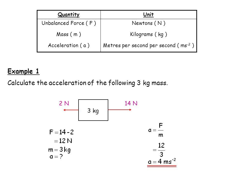 QuantityUnit Unbalanced Force ( F ) Mass ( m ) Acceleration ( a ) Newtons ( N ) Kilograms ( kg ) Metres per second per second ( ms -2 ) Example 1 Calc