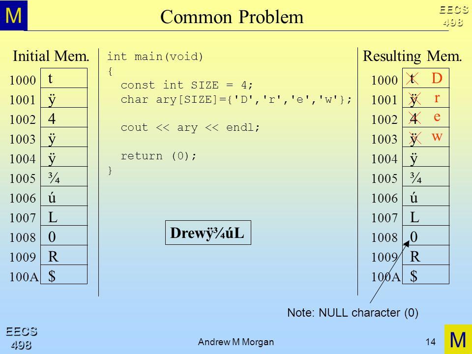 M M EECS498 EECS498 Andrew M Morgan14 Common Problem int main(void) { const int SIZE = 4; char ary[SIZE]={ D , r , e , w }; cout << ary << endl; return (0); } Drewÿ¾úL t ÿ 4 ÿ ÿ 1000 1001 1002 1003 1004 1005 1006 1007 1008 1009 100A ¾ ú L 0 R $ Initial Mem.