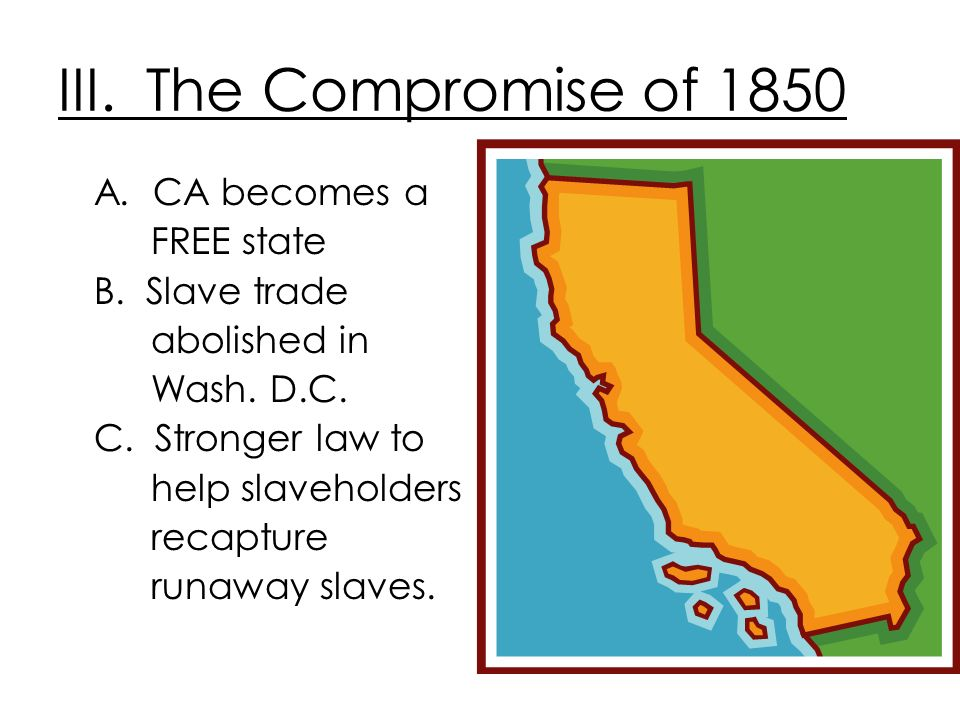 III. The Compromise of 1850 A. CA becomes a FREE state B. Slave trade abolished in Wash. D.C. C. Stronger law to help slaveholders recapture runaway s