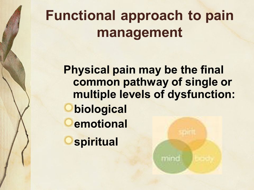 Functional approach to pain management Physical pain may be the final common pathway of single or multiple levels of dysfunction: biological emotional