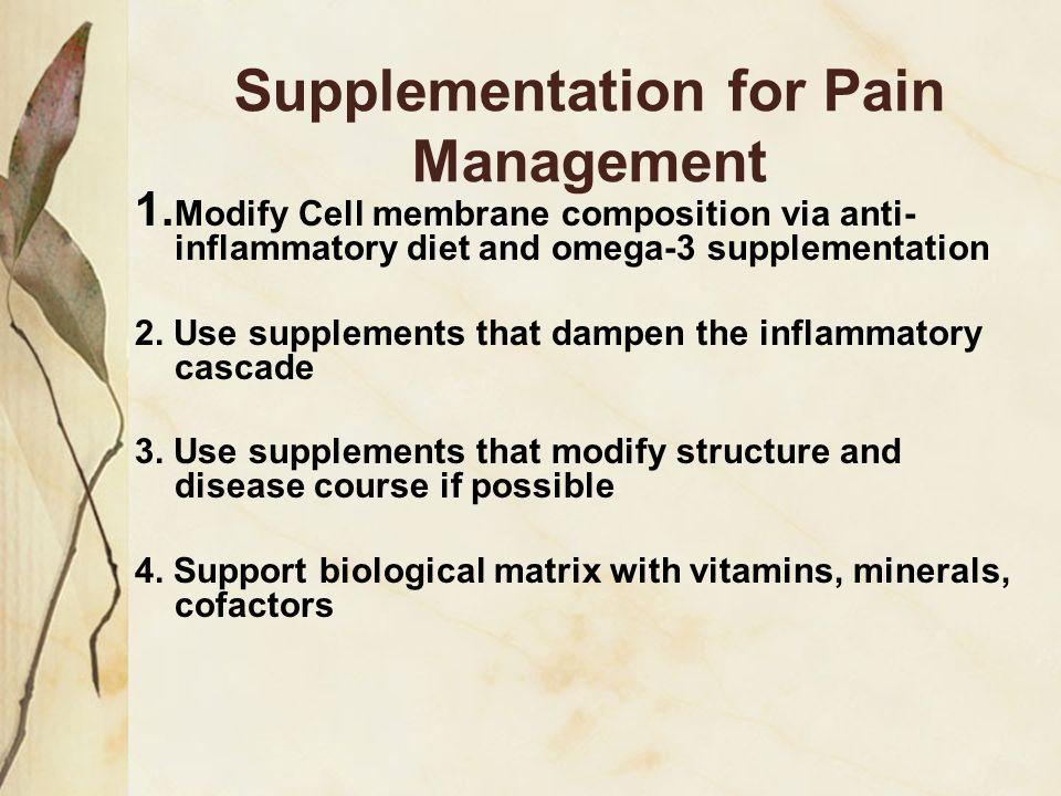 Supplementation: Inflammatory profile modification Structural modification Matrix Support
