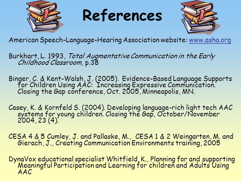 References American Speech-Language-Hearing Association website: www.asha.orgwww.asha.org Burkhart, L. 1993, Total Augmentative Communication in the E