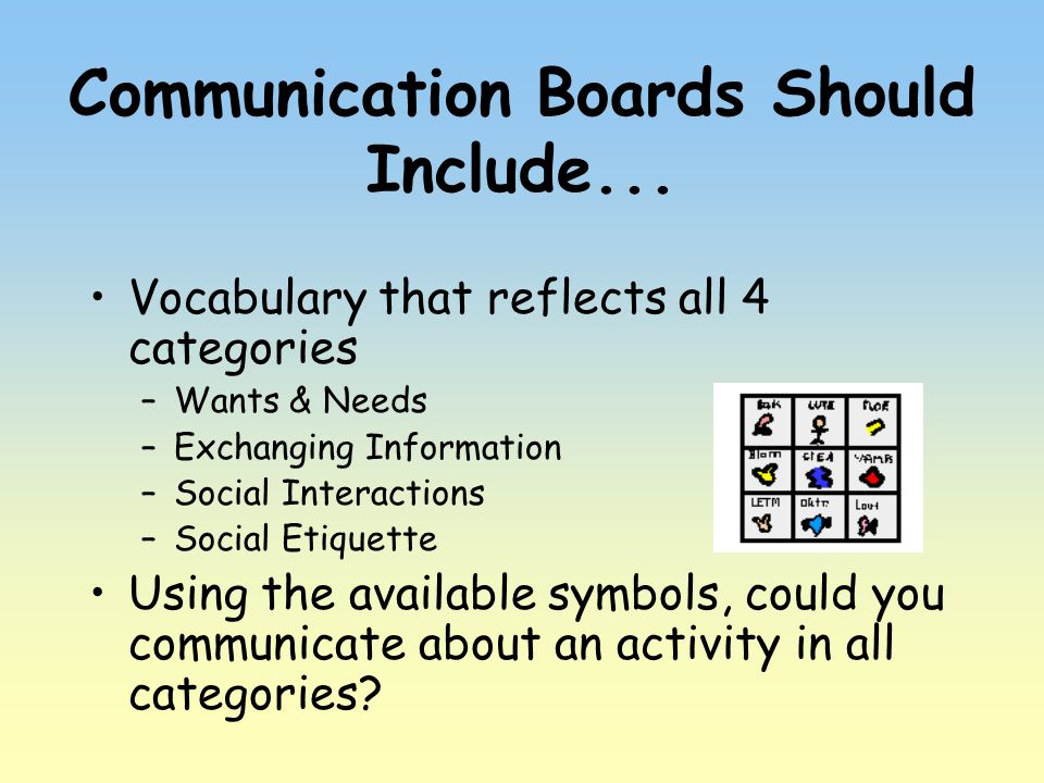 Communication Boards Should Include... Vocabulary that reflects all 4 categories –Wants & Needs –Exchanging Information –Social Interactions –Social E