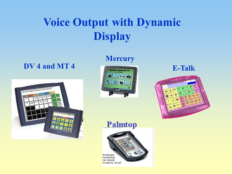 Voice Output with Dynamic Display. DV 4 and MT 4 E-Talk Palmtop Mercury