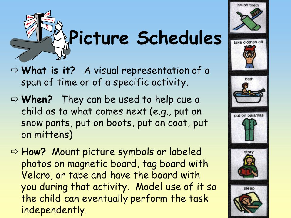Picture Schedules What is it? A visual representation of a span of time or of a specific activity. When? They can be used to help cue a child as to wh