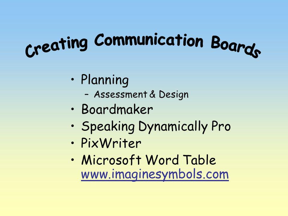 Planning –Assessment & Design Boardmaker Speaking Dynamically Pro PixWriter Microsoft Word Table www.imaginesymbols.com www.imaginesymbols.com