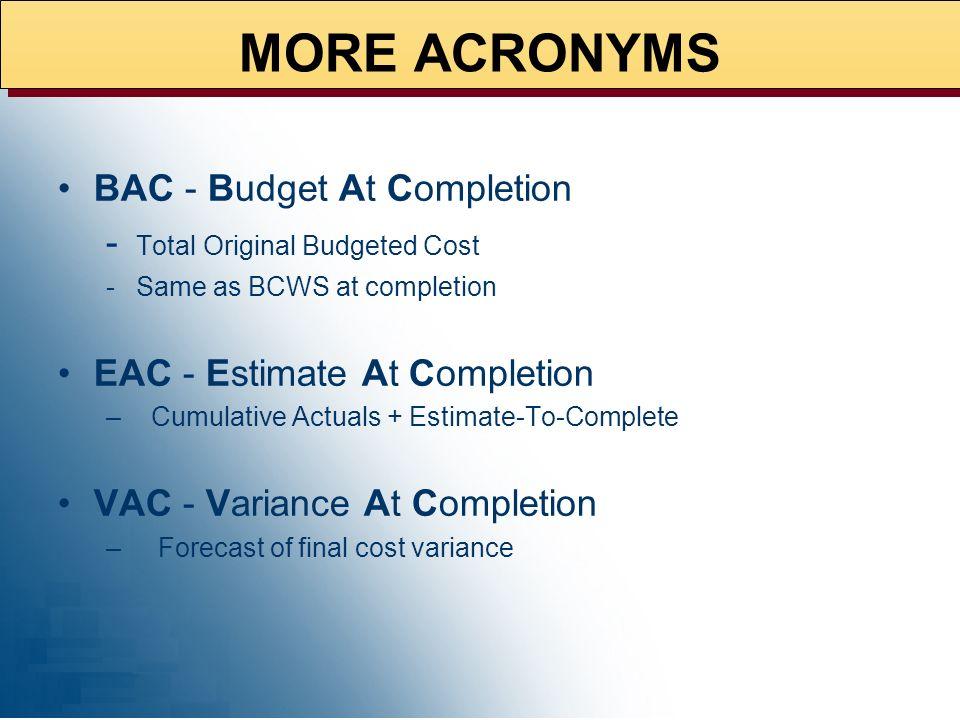 Schedule Variance (SV) Schedule Performance Index (SPI) Cost Variance (CV) Cost Performance Index (CPI) DERIVED METRICS