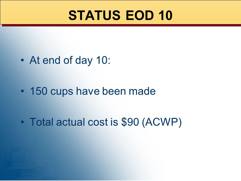 Make 1,000 cups over 50 days Steady rate of 20 cups per day Budgeted cost per cup is $0.50 Total project budget is $500 IF LEMONS-> LEMONADE